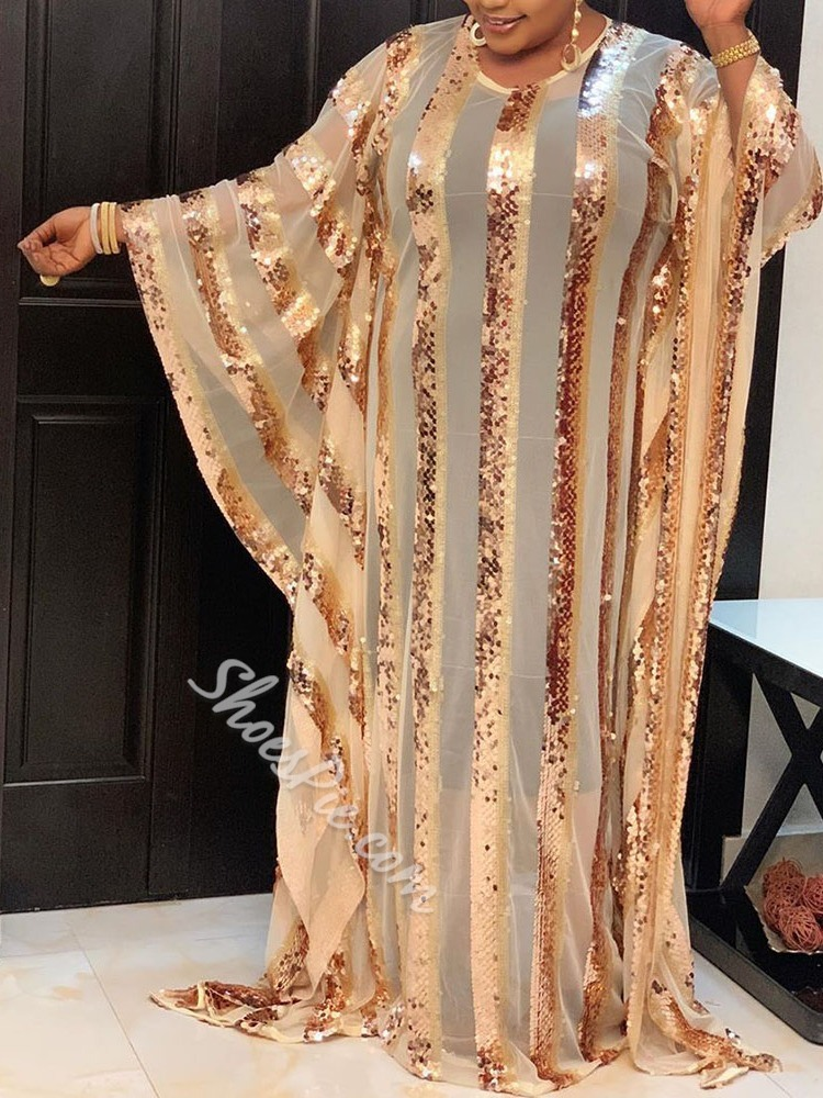Plus Size Sequins See-Through Round Neck Batwing Sleeve Women's Dress
