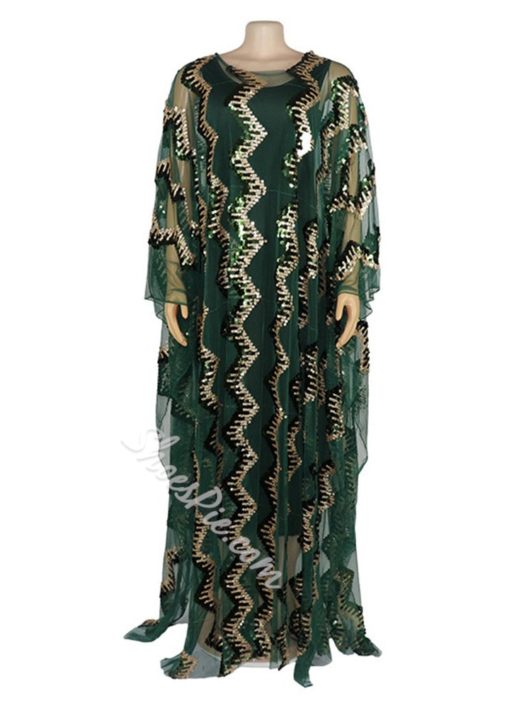 Plus Size See-Through Sequins Batwing Sleeve Floor-Length Women's Dress