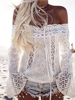 Hollow Sexy Off Shoulder Long Sleeve Women's Blouse