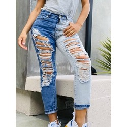 Hole Straight Color Block Slim Women's Jeans