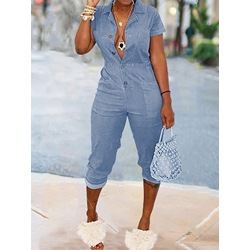 Plain Mid-Calf Casual Pencil Pants Women's Jumpsuit