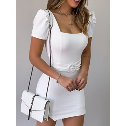 Pleated Above Knee Short Sleeve Pullover Women's Dress