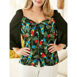 Print Nine Points Sleeve Women's Blouse