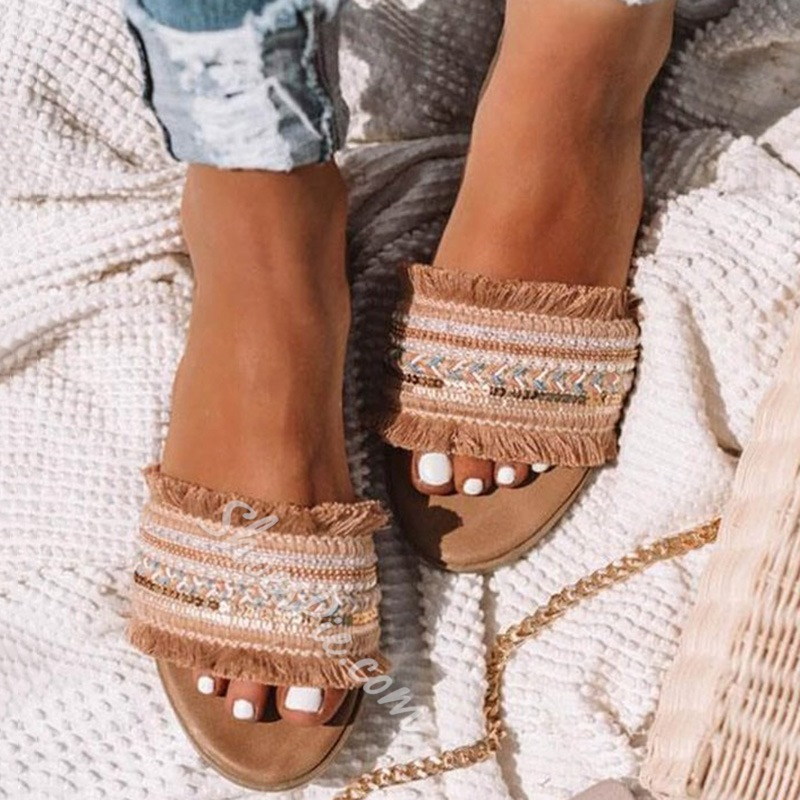 Shoespie Trendy Flip Flop Flat With Fringe PU Slippers
