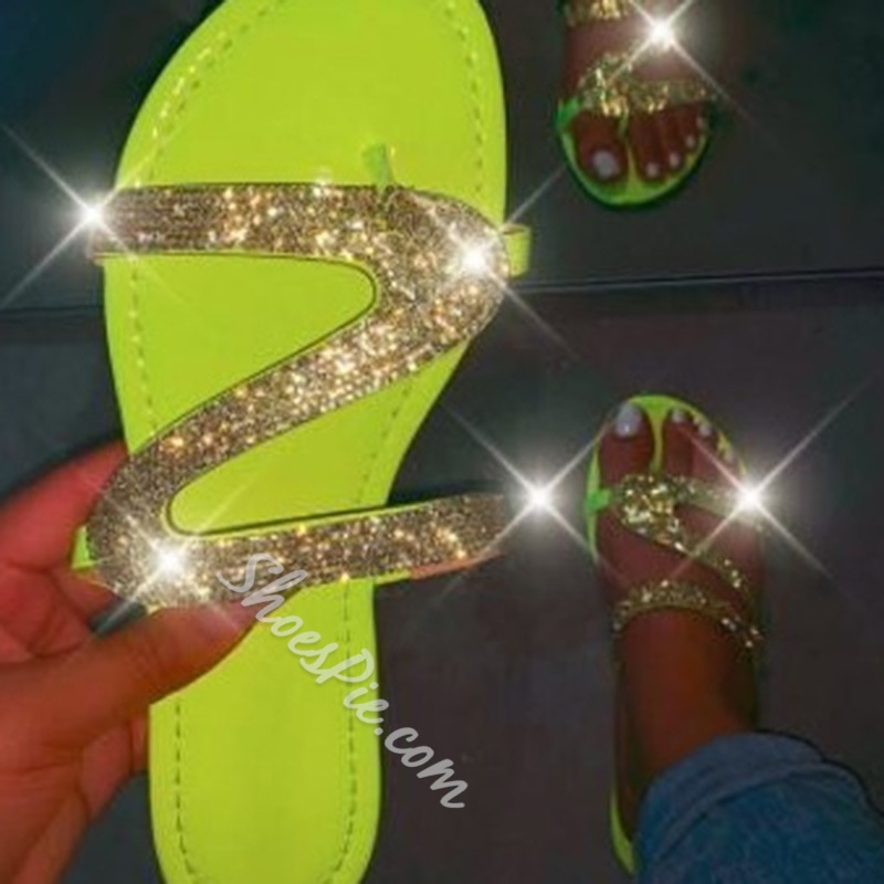 Shoespie Sexy Slip-On Flip Flop Sequin Rubber Slippers