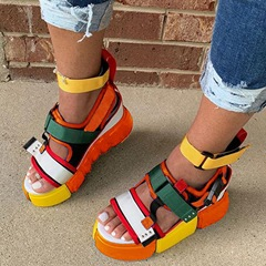 Shoespie Sexy Platform Velcro Open Toe Patchwork Sandals