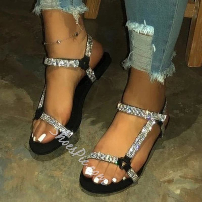 Shoespie Stylish Buckle Flat With Open Toe Rhinestone Sandals