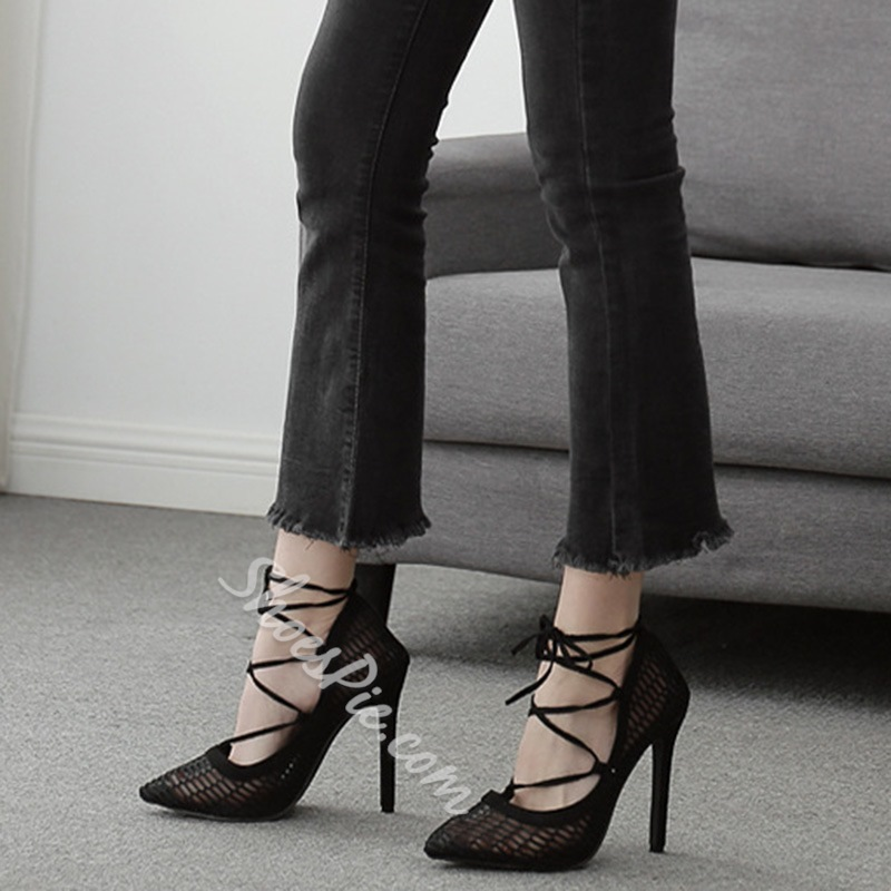 Shoespie Stylish Hollow Pointed Toe Lace-Up Plain Thin Shoes