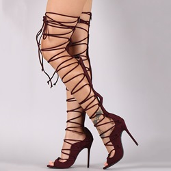 Shoespie Stylish Plain Back Zip Stiletto Heel Thread Boots
