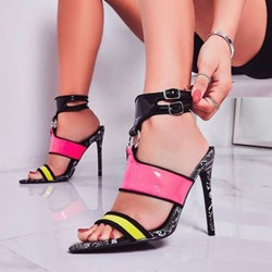 Shoespie Sexy Stiletto Heel Pointed Toe Buckle Patchwork Sandals