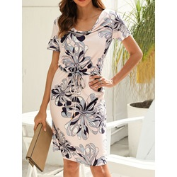 Print Above Knee Heap Collar Pullover Women's Dress