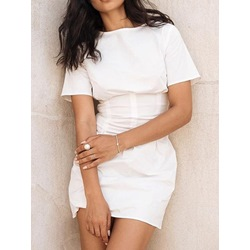 Round Neck Above Knee Short Sleeve Summer Women's Dress
