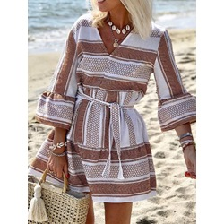 Three-Quarter Sleeve Print Above Knee Summer Women's Dress