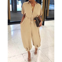 Casual Plain Ankle Length Knickerbockers Women's Jumpsuit