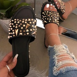 Shoespie Stylish Toe Ring Rivet Slip-On Spring Slippers