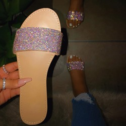 Shoespie Trendy Flat With Slip-On Rhinestone Beach Slippers