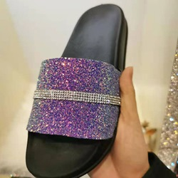 Shoespie Sequin Trendy Flip Flop Slip-On Flat With Casual Slippers