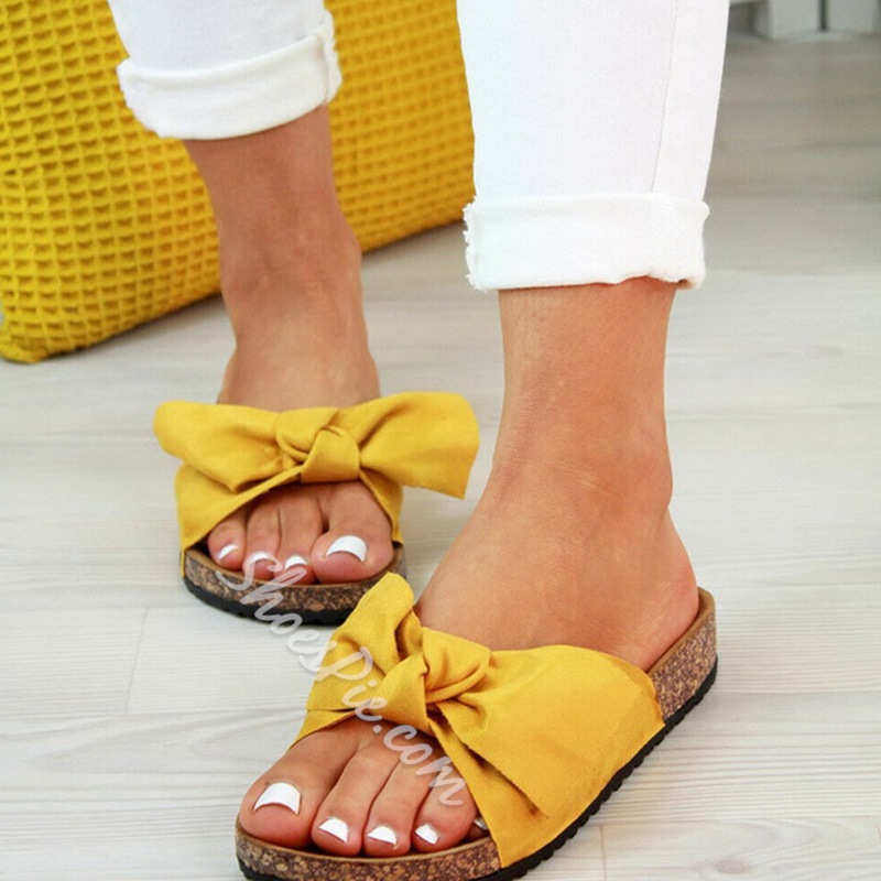 Shoespie Stylish Slip-On Flip Flop Bow Compound Slippers