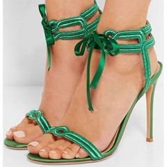 Shoespie Trendy Open Toe Stiletto Heel Lace-Up PU Casual Sandals