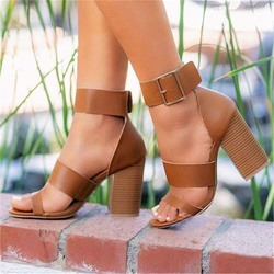 Shoespie Stylish Line-Style Buckle Open Toe Heel Covering Thread Sandals