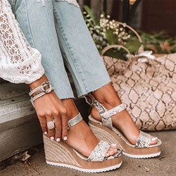 Shoespie Trendy Buckle Open Toe Wedge Heel Platform Sandals