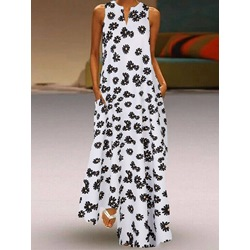 Sleeveless Floor-Length Print Floral Women's Dress