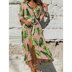 Casual Lapel Print Mid-Calf Regular Women's Dress