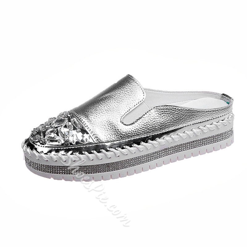 Shoespie Trendy Slip-On Rhinestone Flat With 4cm Thin Shoes
