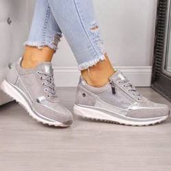 Shoespie Stylish Round Toe Lace-Up Zipper Low-Cut Upper Thin Shoes