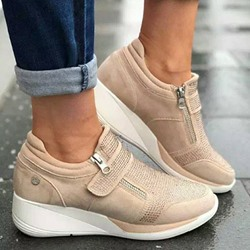 Shoespie Stylish Round Toe Thread Zipper Low-Cut Upper Thin Shoes