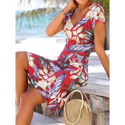 V-Neck Print Above Knee High Waist Women's Dress