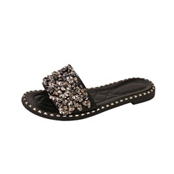 Shoespie Stylish Sequin Slip-On Block Heel Summer Slippers
