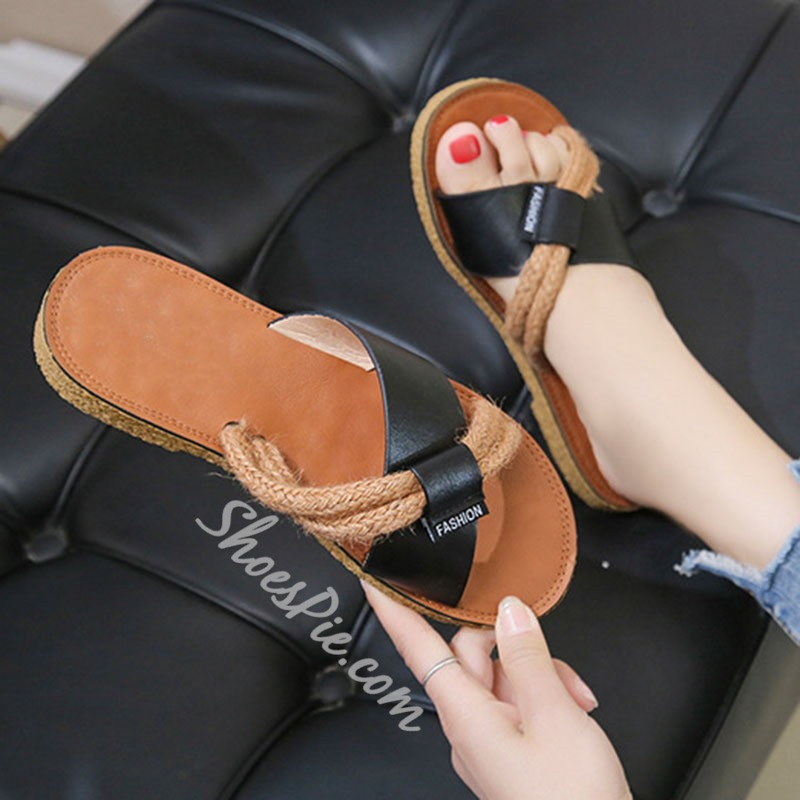Shoespie Trendy Slip-On Flat With Cross Rubber Slippers