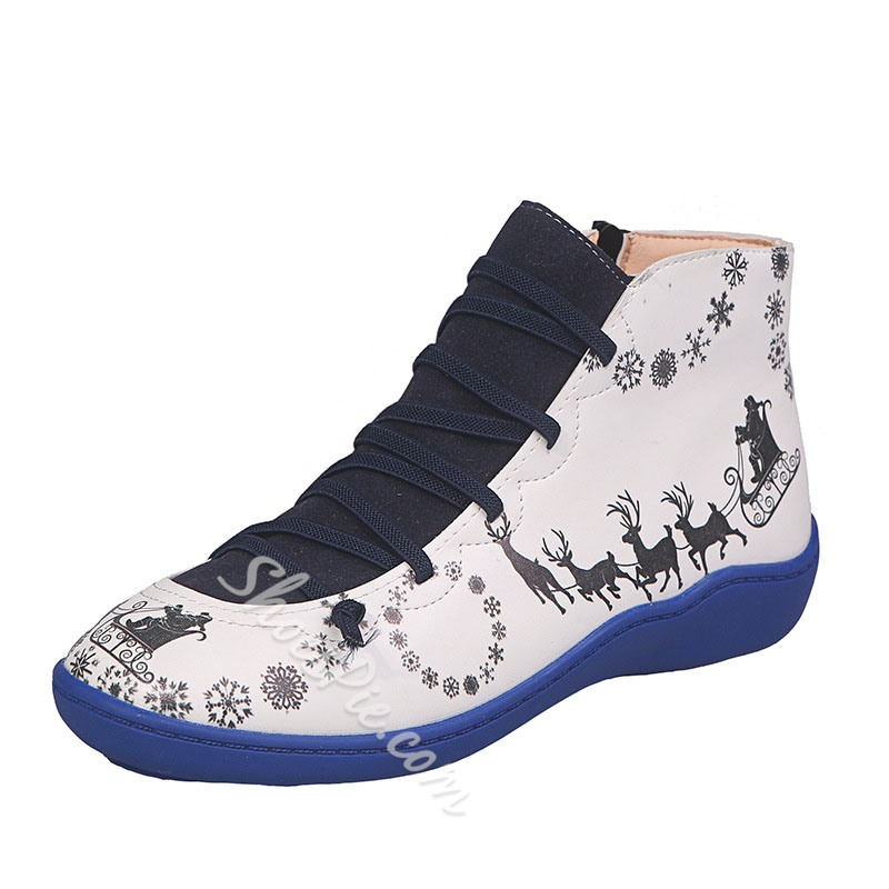 Shoespie Trendy Cartoon Side Zipper Flat With PU Boots