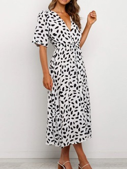 V-Neck Print Half Sleeve Leopard Women's Dress