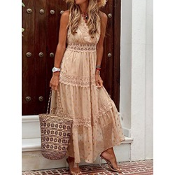 V-Neck Patchwork Sleeveless Travel Look Women's Dress