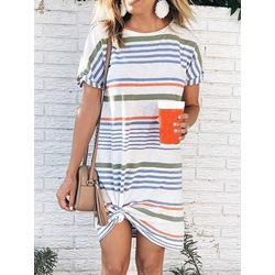 Short Sleeve Round Neck Print Stripe Women's Dress