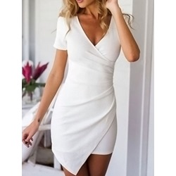 Asymmetric Above Knee Short Sleeve Plain Women's Dress