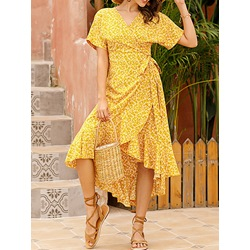 Print Short Sleeve Mid-Calf High Waist Women's Dress