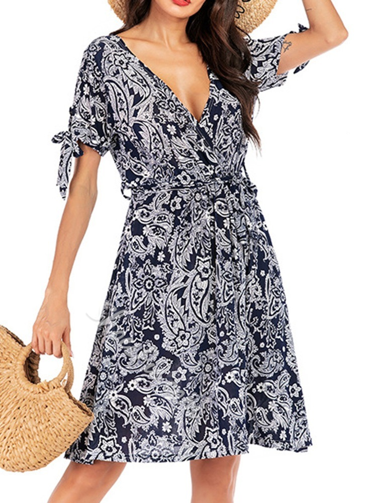 Knee-Length Short Sleeve Print A-Line Women's Dress