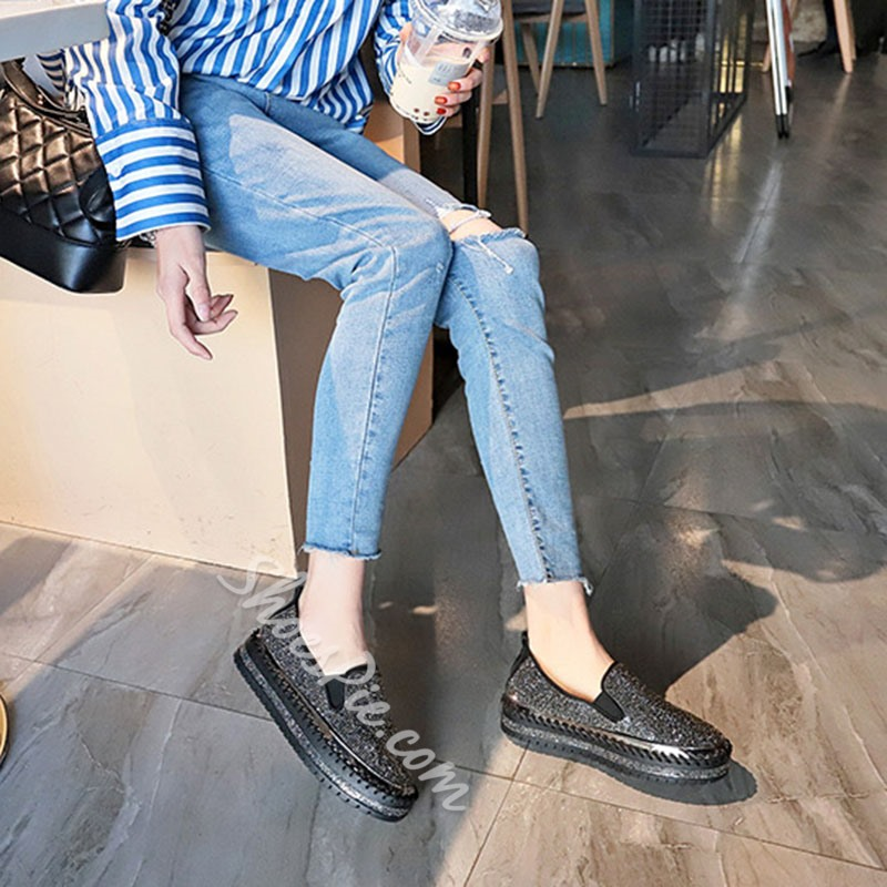 Shoespie Trendy Flat With Round Toe Rhinestone Casual Thin Shoes