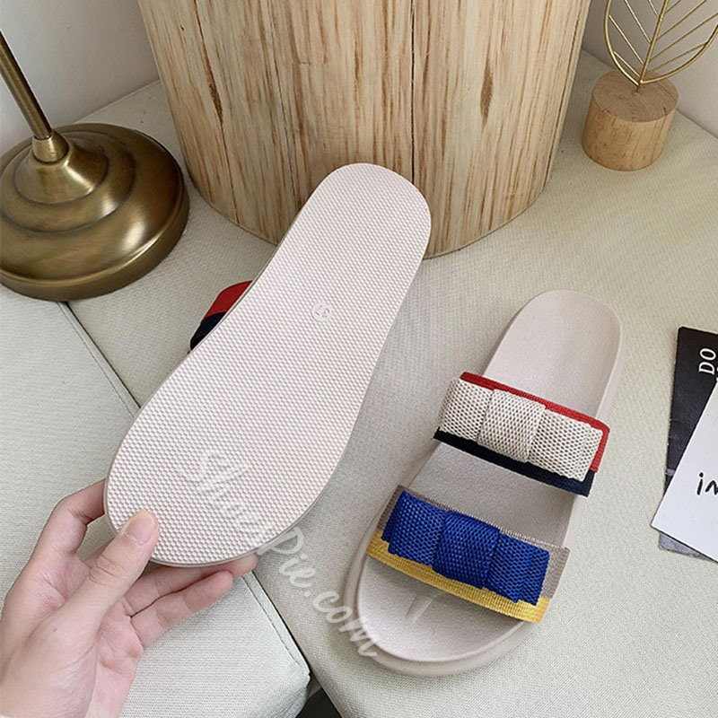 Shoespie Stylish Flip Flop Bow Slip-On Casual Slippers
