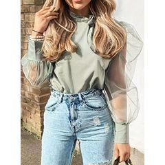 Puff Sleeve Bowknot Plain Long Sleeve Women's Blouse