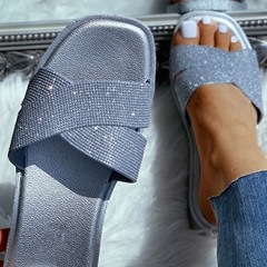 Shoespie Sexy Cross Slip-On Rhinestone Casual Slippers
