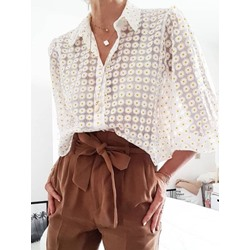 See-Through Floral Lapel Nine Points Sleeve Women's Blouse