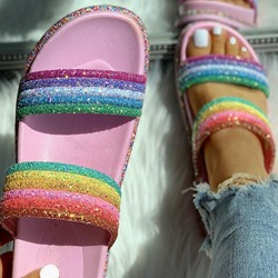 Shoespie Stylish Flip Flop Slip-On Sequin Casual Slippers