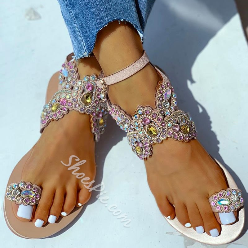 Shoespie Trendy Flat With Toe Ring Line-Style Buckle Casual Sandals