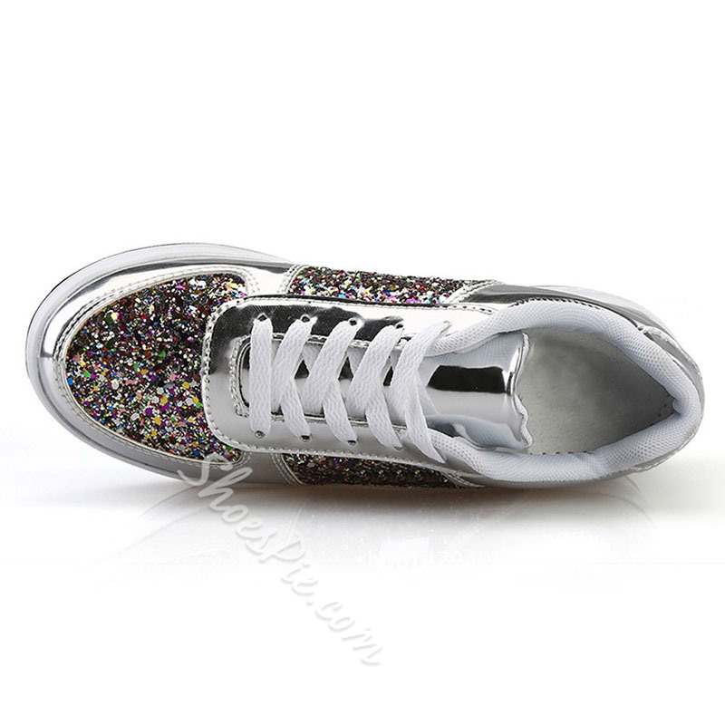 Shoespie Trendy Round Toe Mid-Cut Upper Thread Patchwork Sneakers