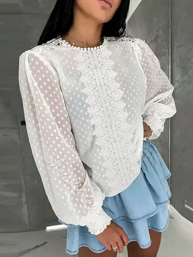 Patchwork Polka Dots Round Neck Long Sleeve Women's Blouse