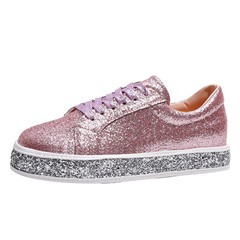 Shoespie Sexy Lace-Up Round Toe Sequin Plain Thin Shoes
